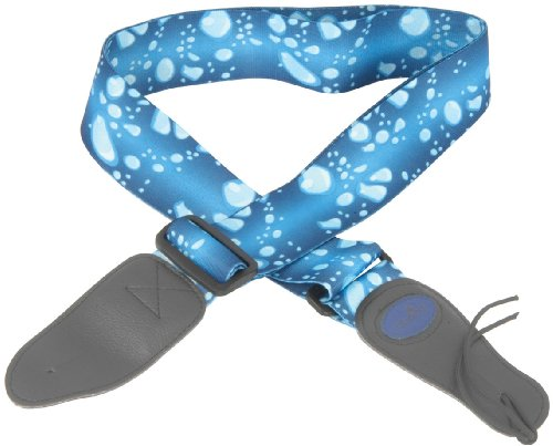 Quality Adjustable Webbing Guitar Strap With Synthetic Leather Fobs Blue Droplets Design Adjust Upto 69 Inches