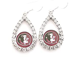 Buy Florida State Seminoles Garnet Teardrop Clear Crystal Silver Earrings Jewelry FSU by Sports Accessory Store