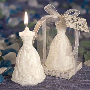 Elegant Wedding Gown Candle Favors, 60