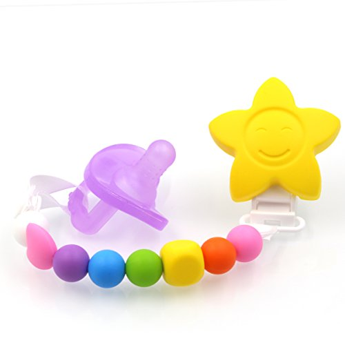 AILAMS-food-grade-Silicone-Baby-Soother-Toddler-Dummy-Pacifier-Chain-And-Teether-With-early-Teething-Beads-Candy-Colours-With-Giant-Star-Purple