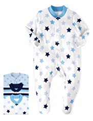 3 Pack Pure Cotton Star & Striped Sleepsuits