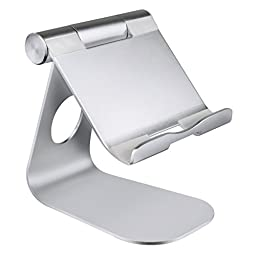 Barsone Multi-Angle Aluminum Phone Stand 270° Rotatable for Tablets,e-readers and Smartphones (Silver)