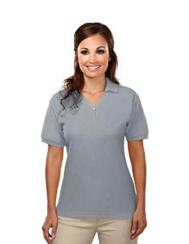 Tri-Mountain Womens Cotton Baby Pique Y-Neck Golf Shirt. 186 - Heather Gray_L front-751947