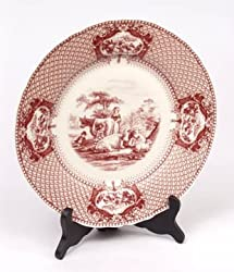 Dinner Plate Red Toile Farm Cow Scene