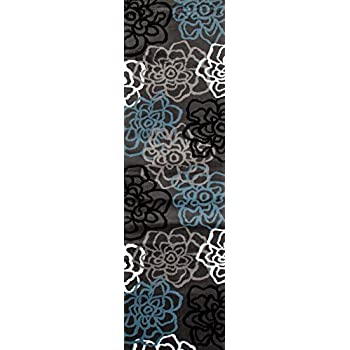 "Rugshop Contemporary Modern Floral Flowers Area Rug Runner, 2 x 72"", Gray"