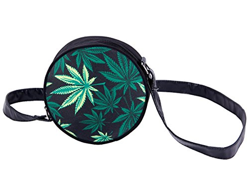 Borsa rotonda a tracolla con motivi divertenti. Borsetta con chiusura zip. Moderno lyfestyle trend zaino donne design, Tasche HT-01-36:HT-028 marijuana