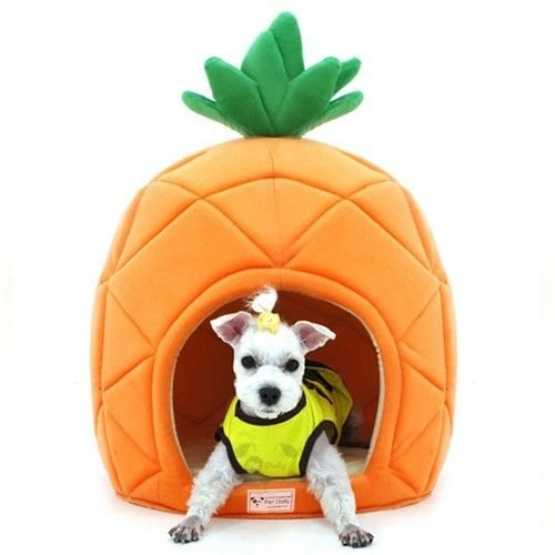 Pesco Dog House Pineapple Shape Cute Dome House Soft Bed Dog Cat Puppy Mat Pad (Small)