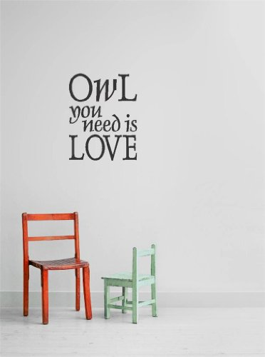 Decal - Vinyl Wall Sticker : Owl You Need Is Love Quote Home Living Room Bedroom Decor - 22 Colors Available Size: 12 Inches X 12 Inches front-465621