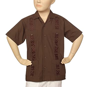 Boys embroidered poly-cotton guayabera in chocolate.