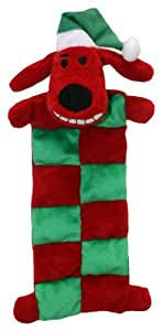 Multipet Loofa Holiday Squeaker Mat Dog Toy with Santa Hat, 12-Inch