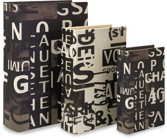 Imax Text Collage Book Boxes, Set Of 3