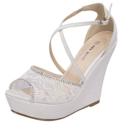 white lace wedges