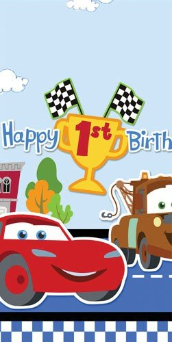 Disney 1st Birthday Cars Plastic Tablecover Party Accessory - 1
