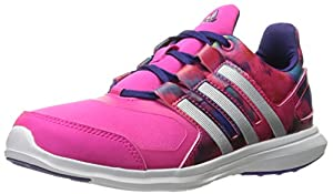 adidas Performance Girls' Hyperfast 2.0 K Running Shoe, Shock Pink/Metallic Silver/Collegiate Purple, 12.5 M US Little Kid
