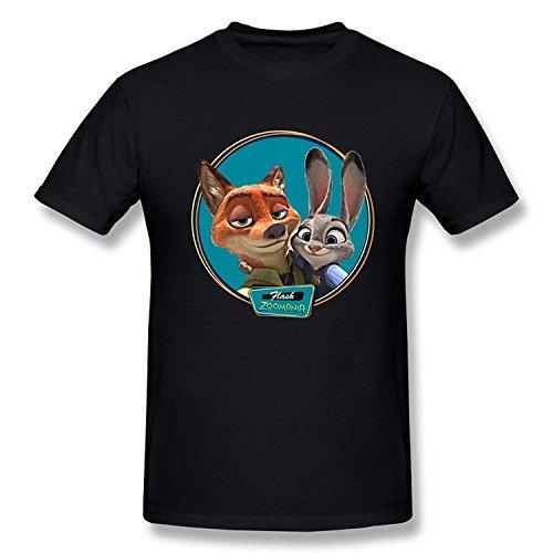 SEagleo Men's Zootopia Nick Wilde & Judy Hopps Photo Tshirts XLarge