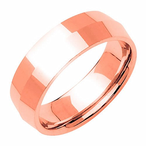 14K Rose Gold Traditional Knife Edge Women'S Wedding Band (7Mm) Size-7.5