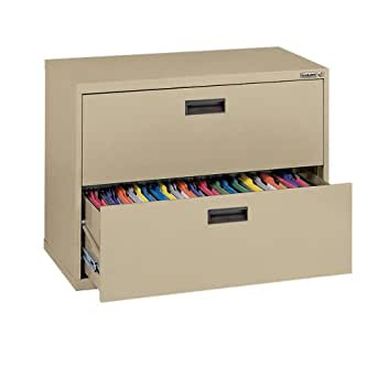 """Sandusky 400 Series Tropical Sand Steel Lateral File Cabinet with Plastic Handle, 30"""" Width x 27-1/4"""" Height x 18"""" Depth, 2 Drawers"""