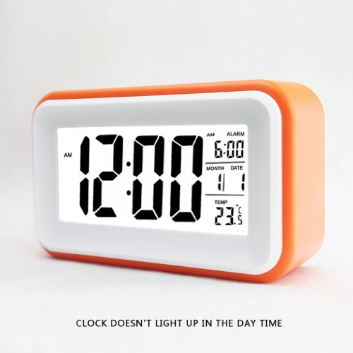Alarm Clock W/ Date And Temperature Display, Repeating Snooze, Light-Activated Sensor Light And Touch-Activated Nightlight- Batteries/ Usb Powered (Orange)