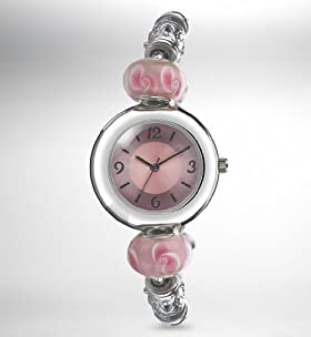 Round Face Charm Bead Bracelet Watch