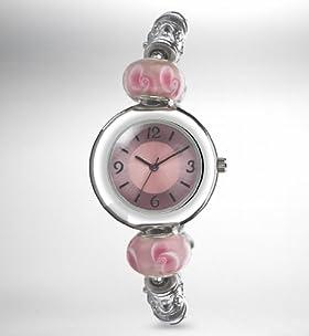 Round Face Charm Bead Bracelet Watch