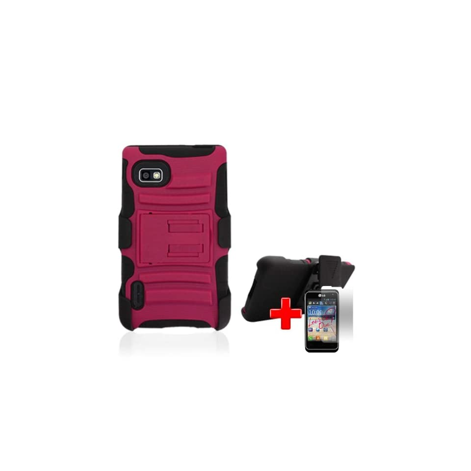 LG Optimus F3 LS720 / MS659 (Sprint/MetroPCS/T Mobile) 2 Piece Silicon Soft Skin Hard Plastic Case Cover w. Belt Clip Holster, Pink/Black + LCD Clear Screen Saver Protector Cell Phones & Accessories