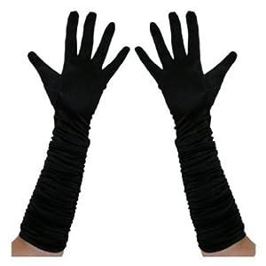 Long Ruched Satin Evening Gloves - Black