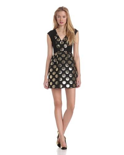 Plenty by Tracy Reese Women's Gold Dot Jacquard Combo Frock Dress