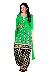 Queen Creation Women's Beautiful Green Colour Embroidered & Mirror Semistitched Dress Material