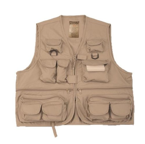 Prestige 26 Pocket Fishing Vest (Khaki, Medium)