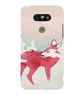 PrintVisa Cute Pink Deer Animal 3D Hard Polycarbonate Designer Back Case Cover for LG G5