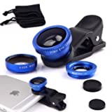 #7: Safeseed Universal 3 in 1 Mobile Phone Lens Kit Set (Macro + Fish Eye + Wide Angle) Compatible with Apple Iphone, Ipad, Tablet, Samsung, HTC - Blue