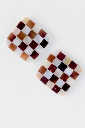 Baubles & Co Checkerboard Pattern Shell Earrings (Round)