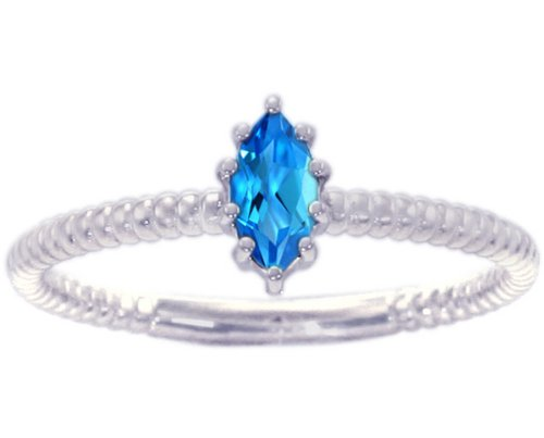 14K White Gold Marquis Gemstone Solitaire Stackable Ring-Swiss Blue Topaz, size7.5