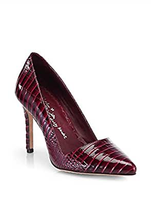 Amazon.com: Alice & Olivia Dina Croc-Embossed Plum Pump ...
