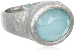 Sterling Silver Chinese Amazonite and White Glass Doublets Hammered Oval Ring, Size 7