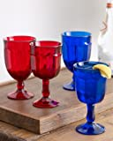 Iced Tea Style Solid Cobalt Blue Glass Hand Cast Arlington Goblet