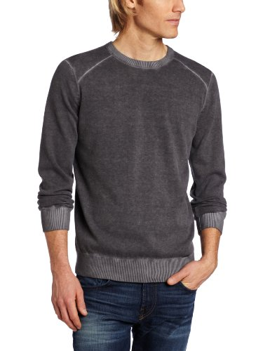 41qPBkjPeUL Calvin Klein Jeans Mens Light Weight Yarn Acid Wash Sweater, Black, Significant
