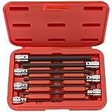 TEKTON 1362 3/8-Inch Drive Extra Long Hex Bit Socket Set, Inch, 1/8-Inch - 3/8-Inch, 7-Piece