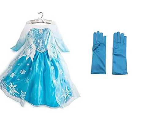 Rush Dance Princess Queen Elsa Snow Snowflake Dress Costume Cosplay with Gloves (4T-5T (110), Frozen)