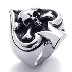 KONOV Jewelry Vintage Gothic Skull Biker Ace of Spades Stainless Steel Mens Ring, Black Silver (Available in Sizes 8 - 15) - Size 12 (with Gift Bag)