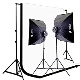 CowboyStudio 2000 Watt Digital Video Continuous Lighting Kit with Carrying Case, 6 x 9ft Black & White Muslin Backdrops with Backdrop Support System