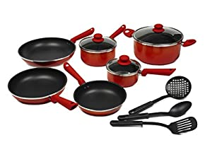 Victoria Color Gradient Nonstick 12-Piece Cookware Set with Glass Lids, Diffussed Color Line, Orange to Red