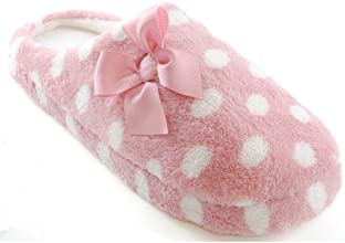 WomensLadies Polka Dot Slippers With Bow