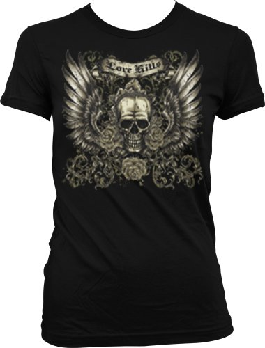 Love Kills Juniors Tattoo T-Shirt, Skull Wings And Roses Old School Tattoo Juniors Tee, X-Large, Black
