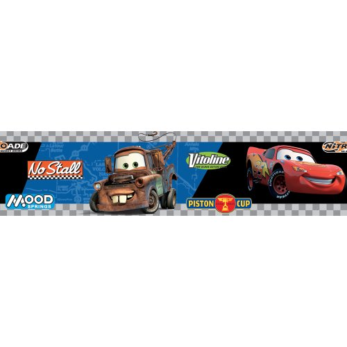Cars Victory Lane Blue/Black/Grey Self-Stick Wall Border, 5-Inch x 15-Foot - 1