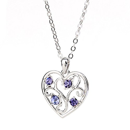 Winter's Secret Fashion Color Hollow Love Heart Tree Shape Cross Chain Silver Pendant Necklace Purple (Platinum Force Steamer compare prices)