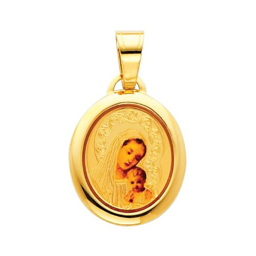 14K Yellow Gold Religious Blessed Virgin Mary and Baby Jesus Enamel Picture Charm Pendant