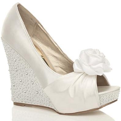 womens wedding bridal wedge platform prom evening shoes