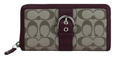 Coach Signature Khaki and Burguendy Leather Zip Around Wallet 50095