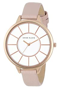 Anne Klein Women's AK/1500RGLP Rose Gold-Tone Pink Leather Strap Watch